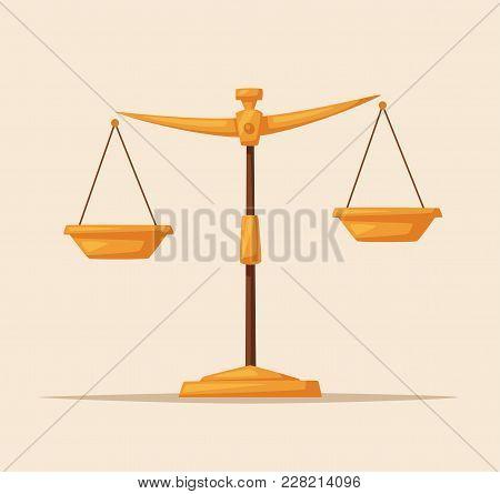Justice Scales Icon. Law Balance Symbol. Libra In Flat Design. Cartoon Vector Illustration.