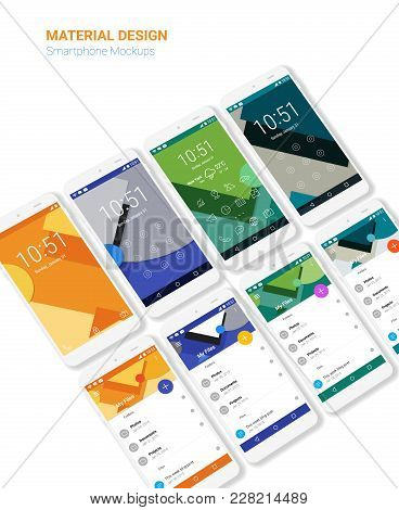 Trendy Mobile Ui Kit, Material Geometric Backgrounds. Welcome, Lock, Home Page And File Manager Scre