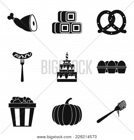 Delicious Meal Icons Set. Simple Set Of 9 Delicious Meal Vector Icons For Web Isolated On White Back