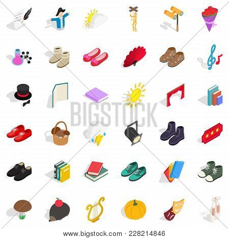 Garment Icons Set. Isometric Set Of 36 Garment Vector Icons For Web Isolated On White Background