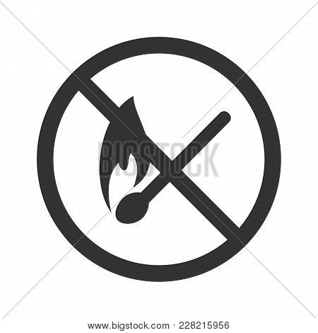 No Fire Icon. Flat Vector Illustration In Black On White Background.