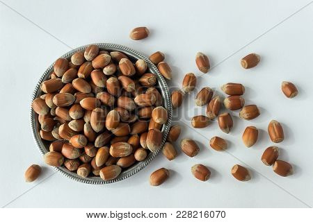 Hazelnuts In Silver Platter. A Full Source Of Vegetable Protein In Vegetarianism And Raw Food. Conce