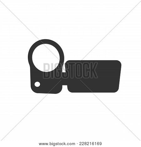 Video Camera Icon. Flat Vector Illustration In Black On White Background.