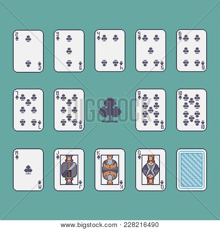Pixel Art Clubs Poker Cards Vector Set.