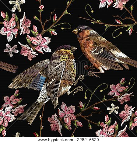 Embroidery Birds And Blossoming Cherry Seamless Pattern. Spring Fashion Pattern, Template For Design