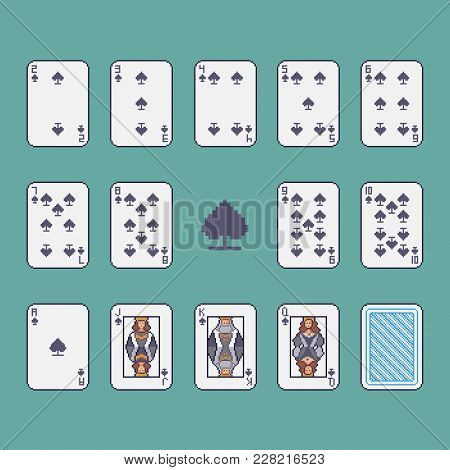 Pixel Art Spades Poker Cards Vector Set.