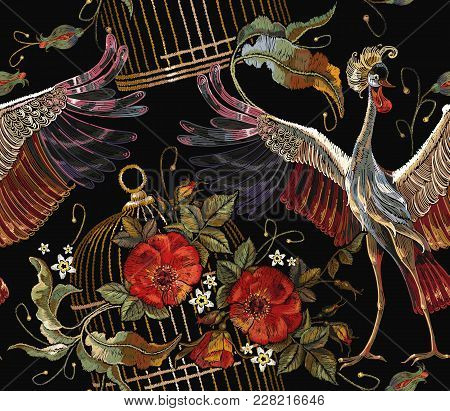 Embroidery Crane Birds, Golden Cage And Roses Seamless Pattern. Template For Clothes, Textiles, T-sh