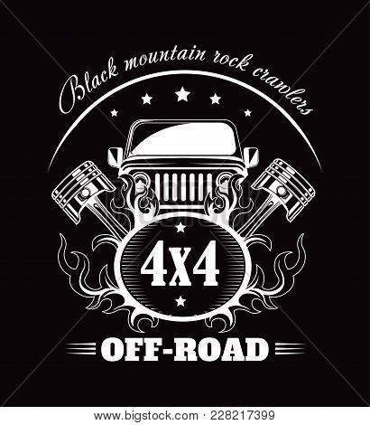 Off-road 4x4 Extreme Car Club Poster. Vector Design Of Off Road Car Or Truck With Wheel Tires And Mo