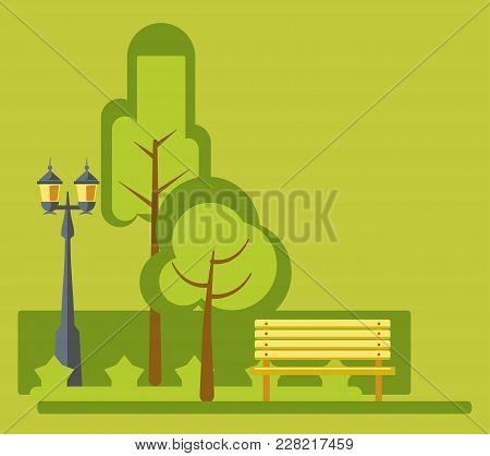 Amusement Park Landscape Or Green Trees Garden Forest Flat Design. Vector Street Lights And Bench On