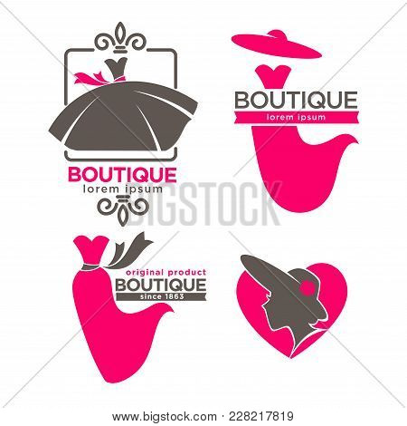 Fashion Dress Boutique Or Woman Tailor Salon Logo Templates. Vector Isolated Retro Icons Of Pink Wed