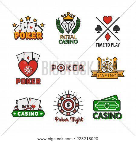 Casino Poker Game Logo Templates For Online Internet Gamboling Bets Design. Vector Icons Set Gamblin
