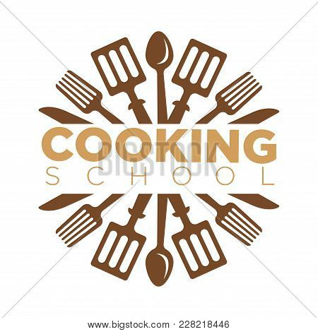 Cooking School Masterclass Logo Template Of Chef Cooking Utensils And Cutlery. Vector Isolated Icon