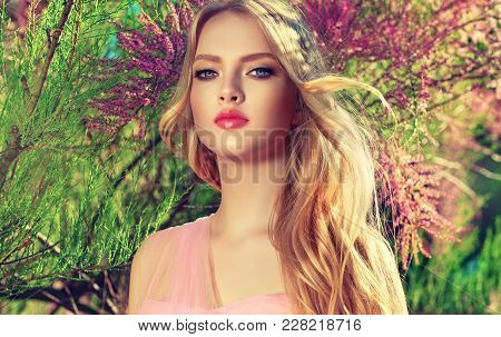 Beautiful Spring   Model Girl   In Fragrant   Flowers  In Summer Blossom Park. Woman In A Blooming G