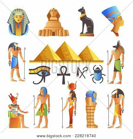 Egypt Ancient Culture Symbols And Icons Set. Vector Isolated Egyptian Pyramids, Pharaohs And Gods, M