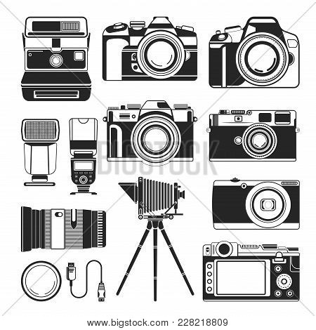 Cameras Icon Of Retro Old And Modern Photography Photo Equipment. Vector Isolated Silhouette Of Vint