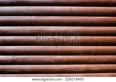 Vintage Wood Texture Background, Copy Space. Brown Wooden Wall From Logs. Rustic Wooden Wall Surface
