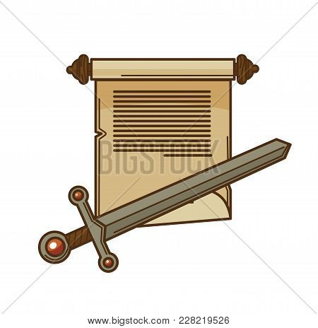 Manuscript Scroll And Ancient Sword Icon. Vector Isolated Writer Paper Book And Novel Or Adventure S