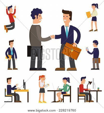 Vector Concept Cartoon Character Illustrations Businessman Presentating A Report, Striking A Target,