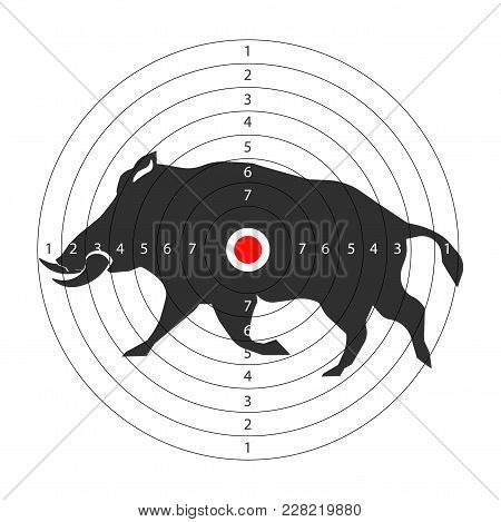 Hunting Animal Target Vector Icon For Hunt Shooting Training Background Template. Vector Hunter Targ