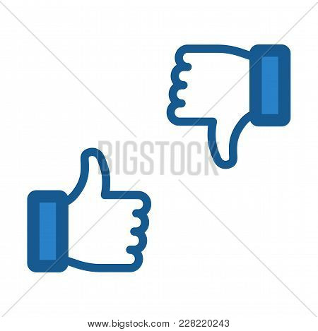 Like And Dislike Icon. Thumb Up And Thumb Down Signs. Flat Contour Hands. Vector