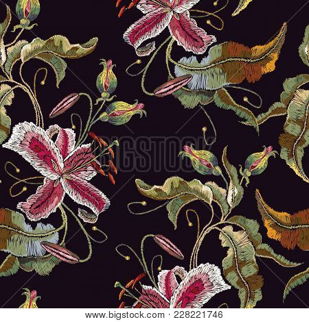 Embroidery Orchid Exotic Tropical Flowers. Template For Clothes, Embroideries, T-shirt Design. Beaut