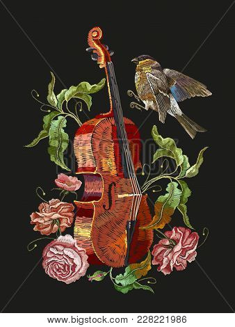 Embroidery Violin, Birds And Roses Flowers. Classical Embroidery Musical Violin, Titmouse, Buds Of F