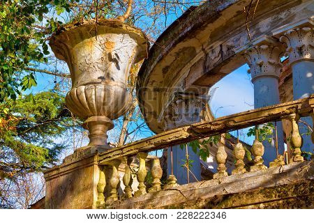 Vase, Balustrade And Rotunda Of The Abandoned Building Of The Former Restaurant On The Top Of Mount