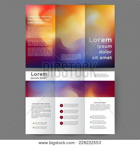 Color Tri Fold Business Brochure Design With Abstract Blurred Background