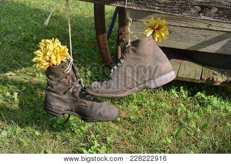 A Pair Of Hanging Work Shoes Hanging From A Twine Are Used As A Flower Pot.
