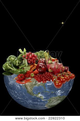 Planet earth in space whit rich fresh fruits and vegetables poster