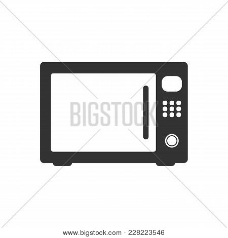 Microwave Icon. Microwave Vector Isolated On White Background. Flat Vector Illustration In Black. Ep