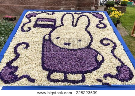 Noordwijkerhout, Netherlands - April 21,  2017: Easter Rabbit Made Of Hyacinths At The Traditional F
