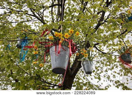 Decorations With Hanging Pails With Yellow Daffodils At The Traditional Flowers Parade Bloemencorso