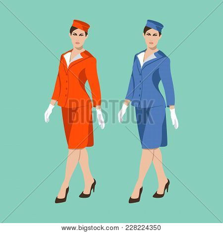 Stewardess Women Vector Illustration Flat Style Front  View