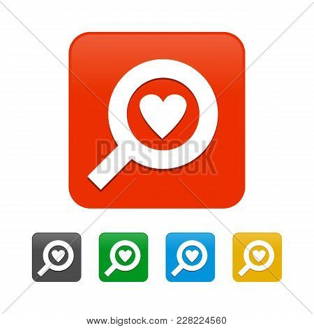 Love Search Rounded Square Icons Vector Graphic Design