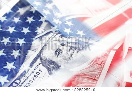 American Flag With Hundreds Representing The American Economy High Quality Stock Photo