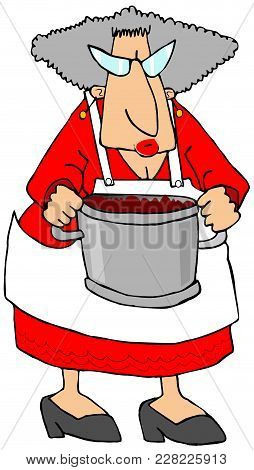 Illustration Of A Chubby, Gray Haired Grandma Wearing An Apron And Holding A Large Pot.