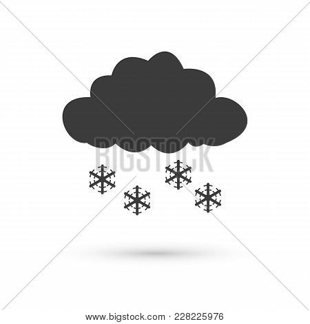 Overcast Icon. Flat Vector Illustration In Black On White Background.