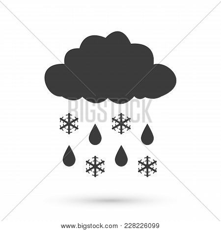 Overcast Sleet Icon. Flat Vector Illustration In Black On White Background.