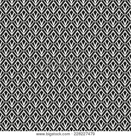 Abstract Geometric Patern With Squares. A Seamless Vector Background. Black And White Texture. Graph