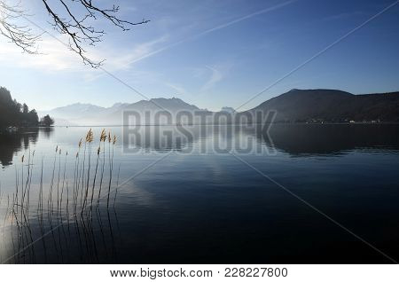 Large View Of Annecy Lake And Mountains From Annecy City,france