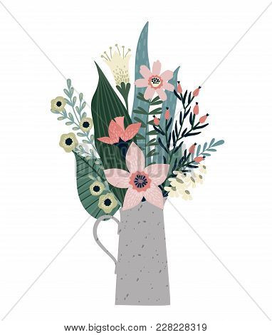 Vector Illustration Bouquet Of Flowers. Design Template For Card, Poster, Flyer And Other Users