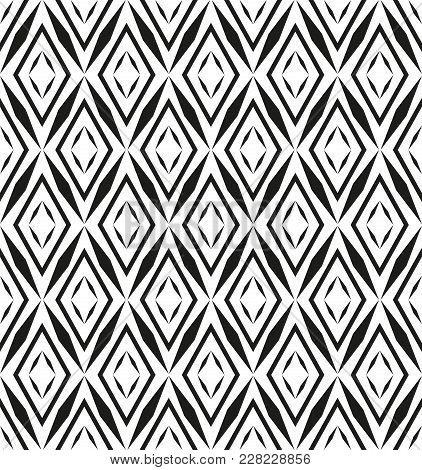 Abstract Geometric Patern With Rhombuses. A Seamless Vector Background. Black And White Texture. Gra