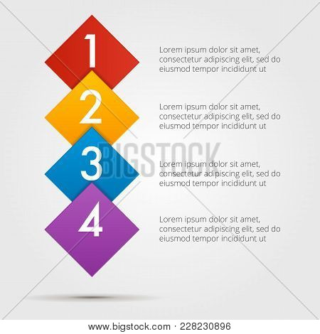 Infographics Step By Step In A Series Of Squares, Vertical Composition. Element Of Chart, Graph, Dia