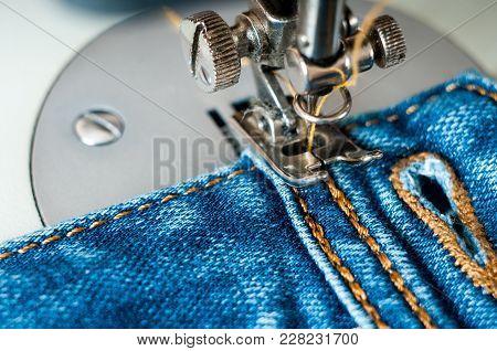 Sewing Process Denim Material