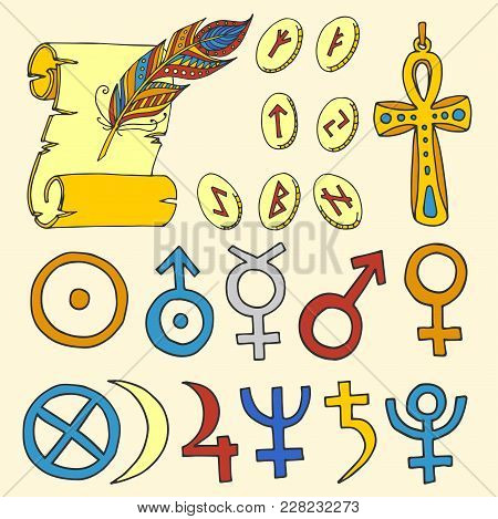 Vector Mystic Magic Esoteric Symbols Sketch Hand Drawn Religion Philosophy Spirituality Magical Occu