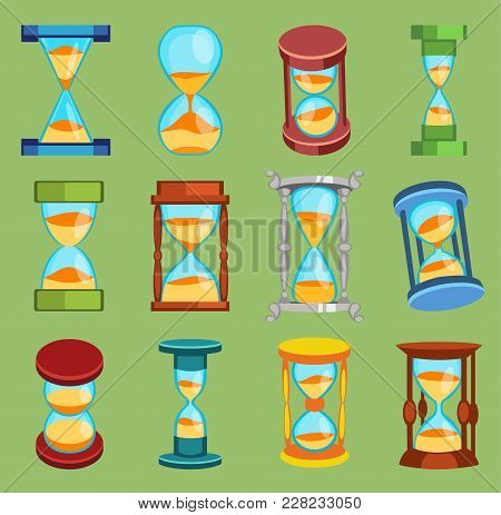 Sandglass Vector Watches Time Glass Tools Icons Set, Time Hourglass Sand Clock Flat Design History S