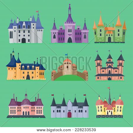 Cartoon Fairy Tale Vector Castle Key-stone Palace Tower Icon Knight Medieval Architecture Castle Bui