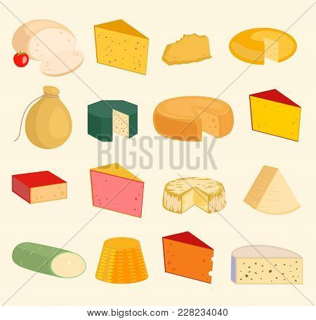 Vector Cheese Slices Peace Variety Icons Cartoon Set Isolated Illustration. Dairy Cheese Varieties F