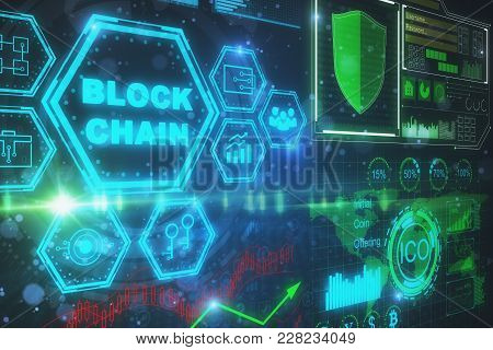 Creative Digital Background. Cyberspace And Bitcoin Concept. 3d Rendering
